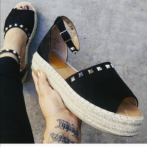 Black studded espadrilles
